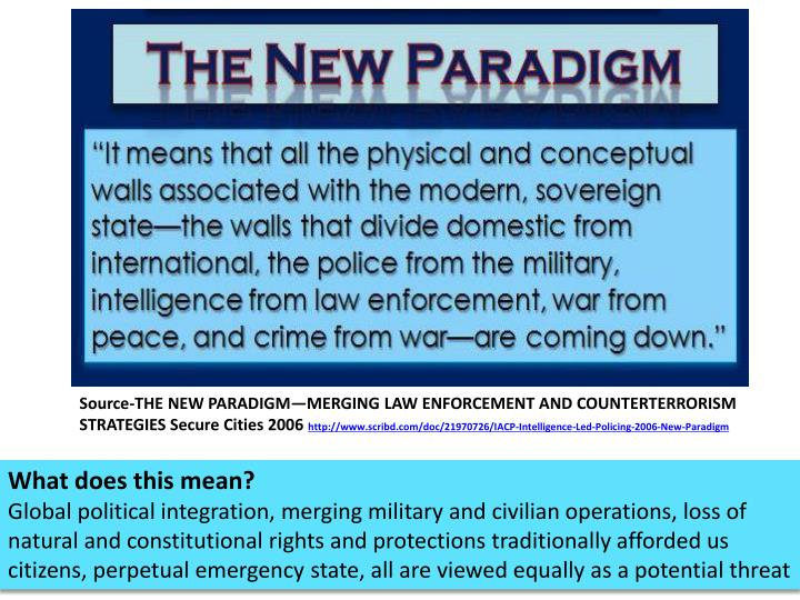 Source-THE NEW PARADIGM—MERGING LAW ENFORCEMENT AND COUNTERTERRORISM STRATEGIES Secure Cities 2006