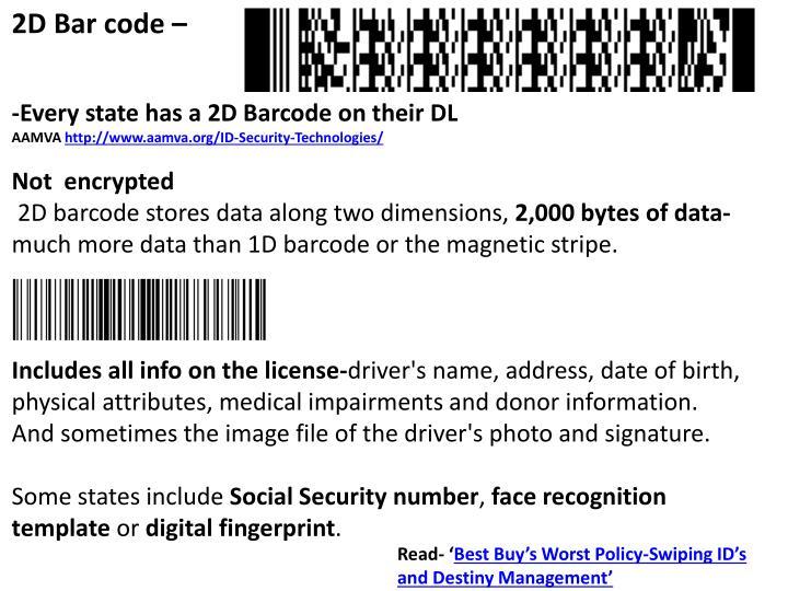 2D Bar code