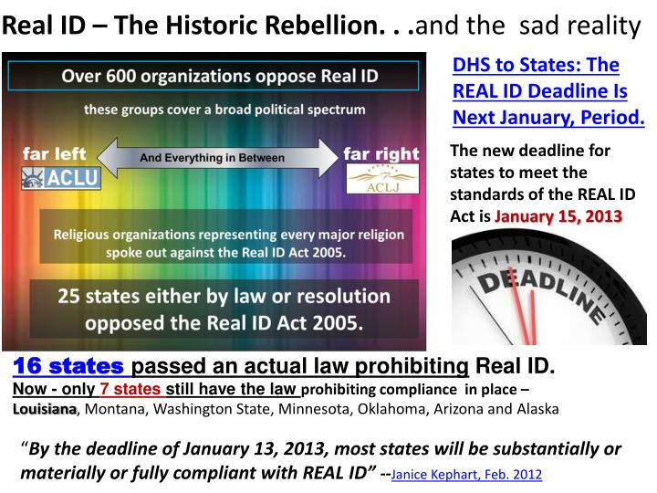 Real ID – The Historic Rebellion. . .