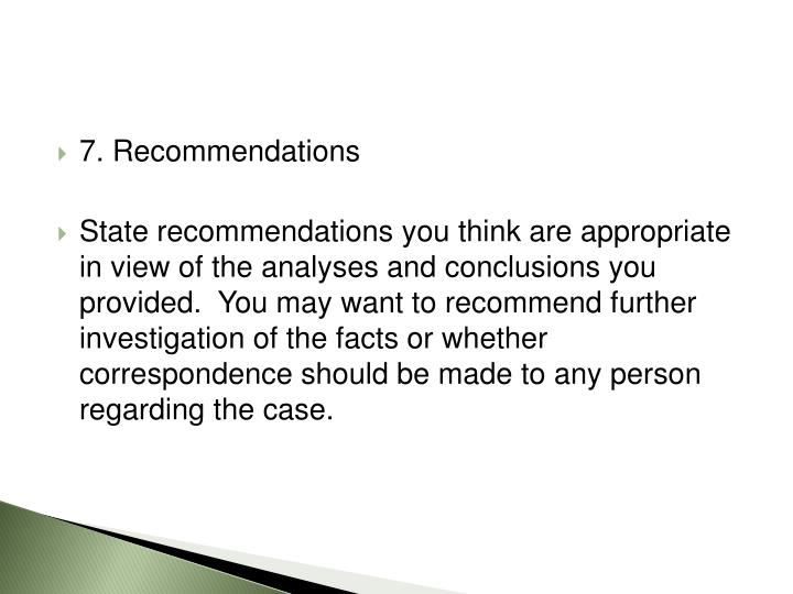 7. Recommendations