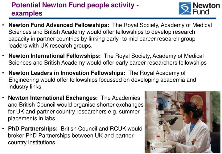 Potential Newton Fund people activity - examples