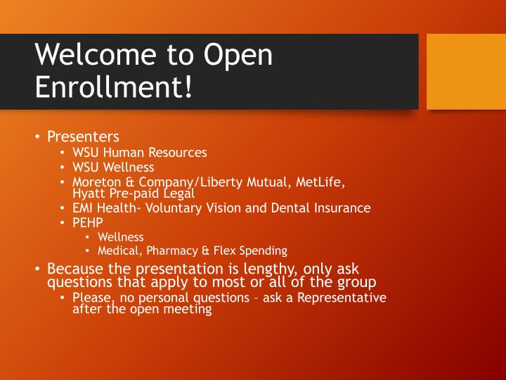 Welcome to open enrollment