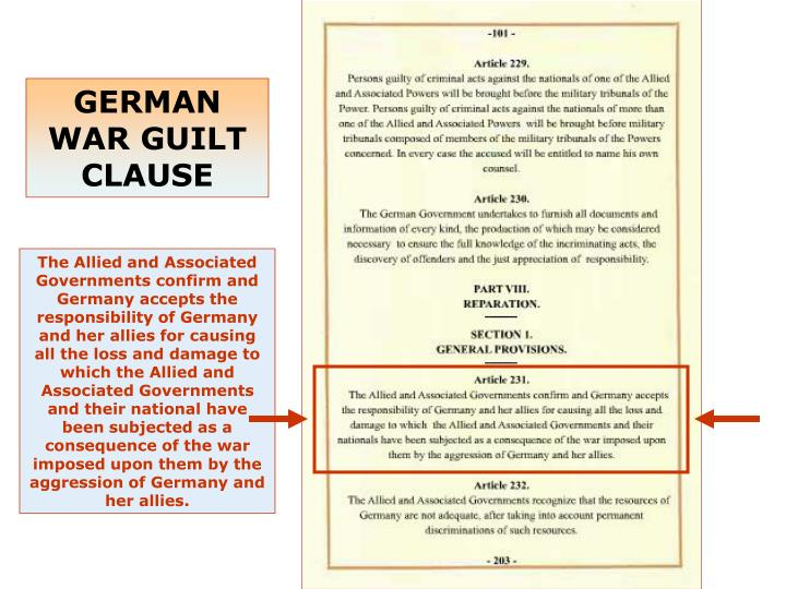 GERMAN WAR GUILT  CLAUSE