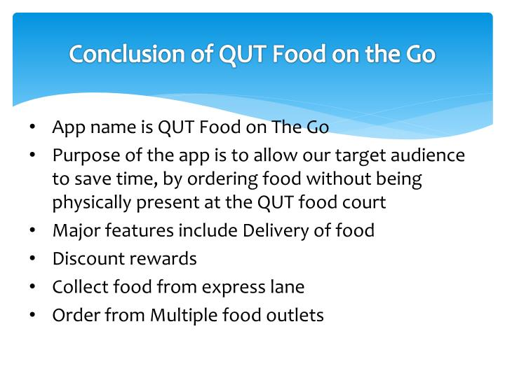 Conclusion of QUT Food on the Go