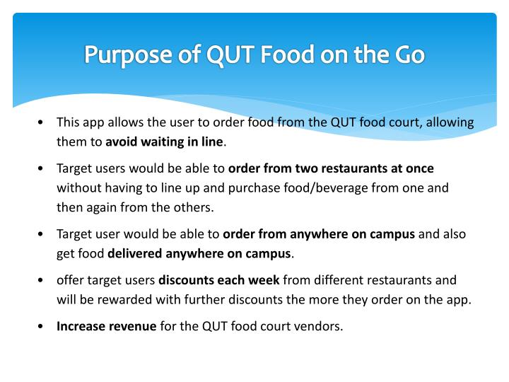 Purpose of QUT Food on the Go