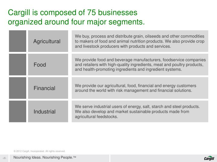 Cargill is composed of 75 businesses