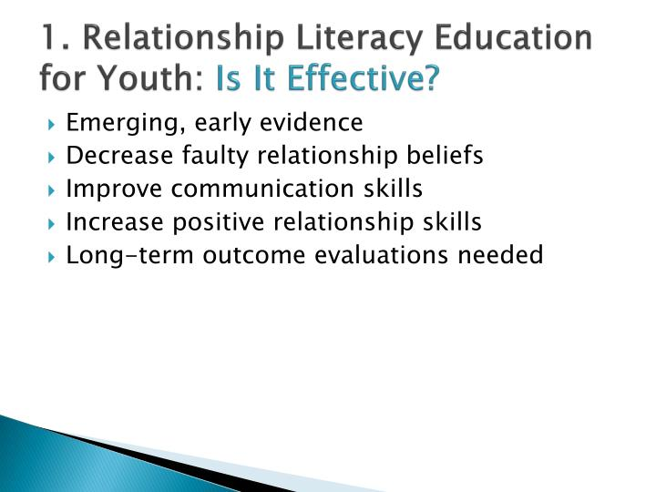 1. Relationship Literacy Education for Youth: