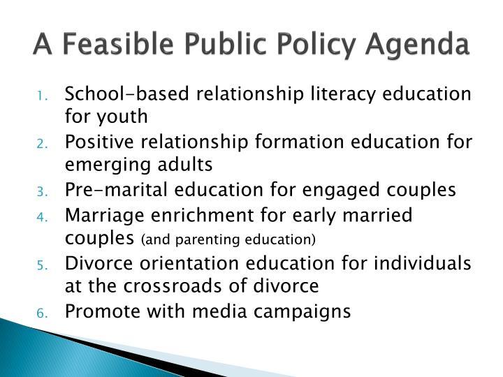 A Feasible Public Policy Agenda