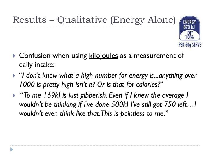 Results – Qualitative (Energy Alone)