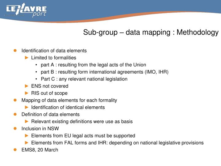 Sub group data mapping methodology