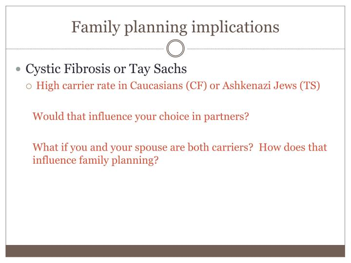 Family planning implications