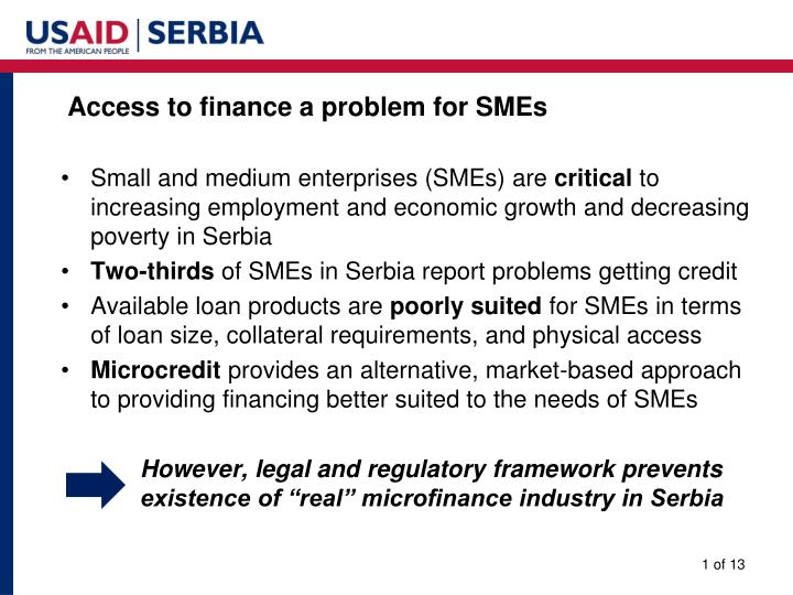 Access to finance a problem for SMEs