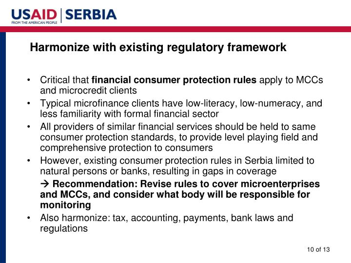 Harmonize with existing regulatory framework