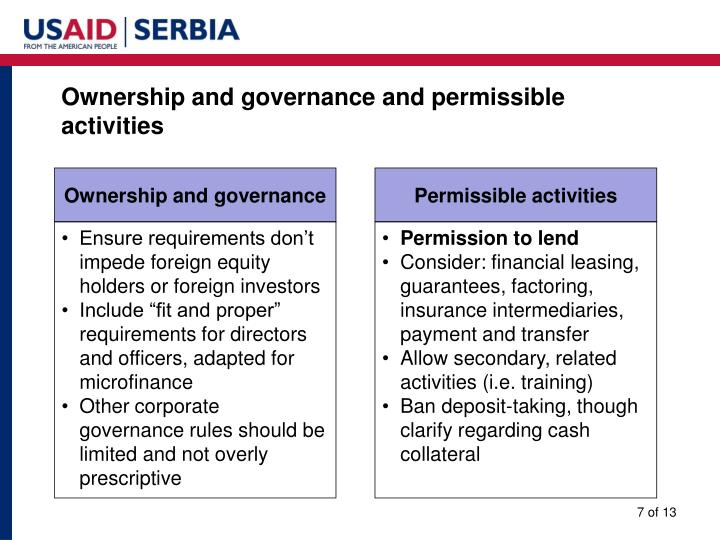 Ownership and governance and permissible activities