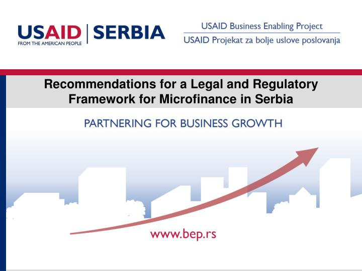 Recommendations for a Legal and Regulatory