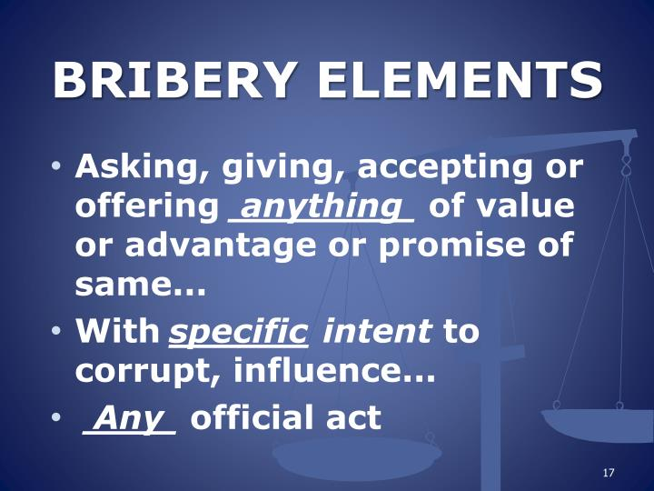 BRIBERY ELEMENTS