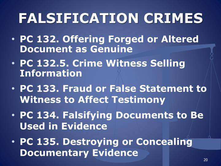 FALSIFICATION CRIMES