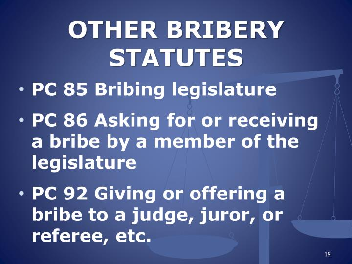 OTHER BRIBERY STATUTES