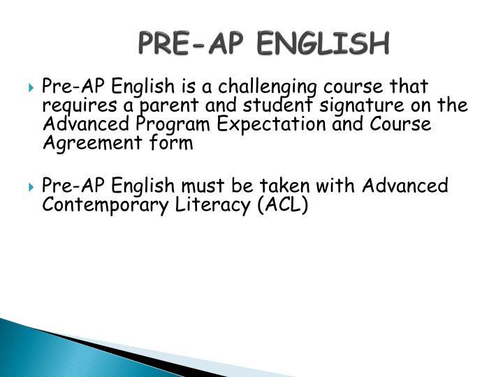 PRE-AP ENGLISH