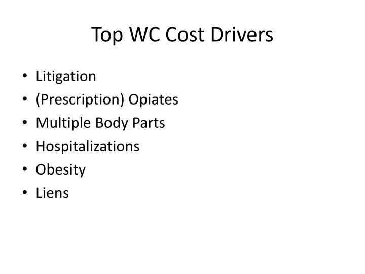 Top WC Cost Drivers