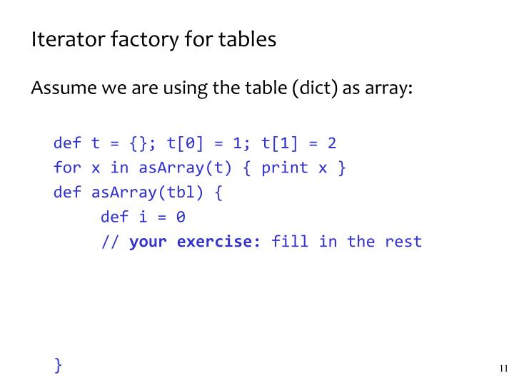 Iterator factory for tables