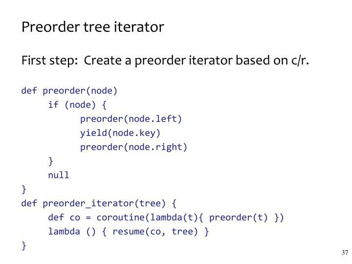 Preorder tree iterator