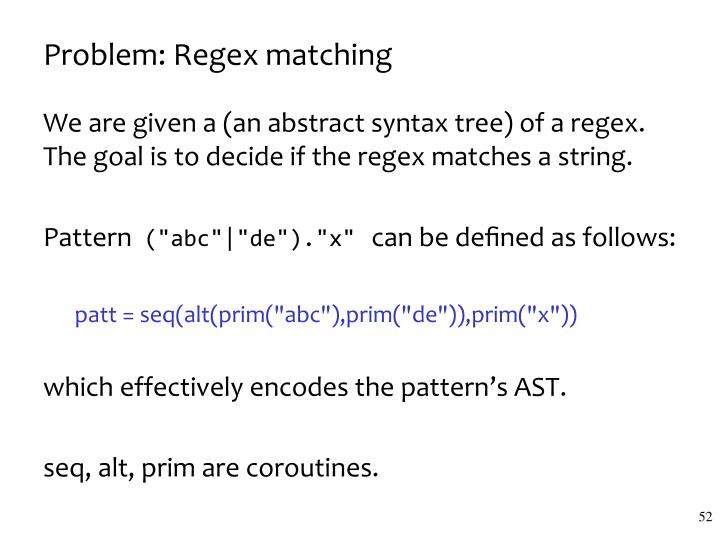 Problem: Regex matching