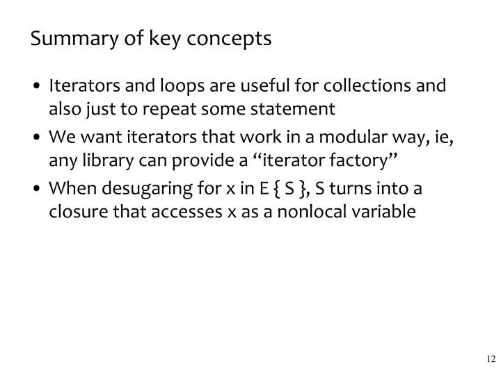 Summary of key concepts