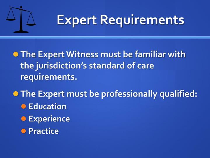 Expert Requirements