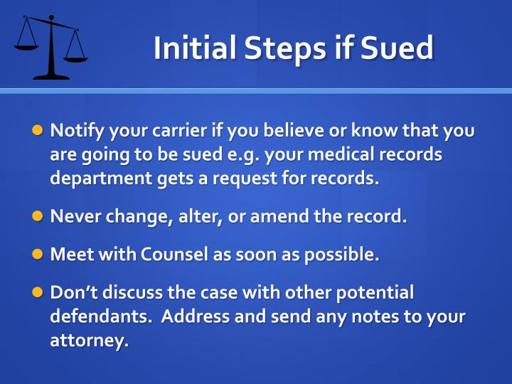 Initial Steps if Sued