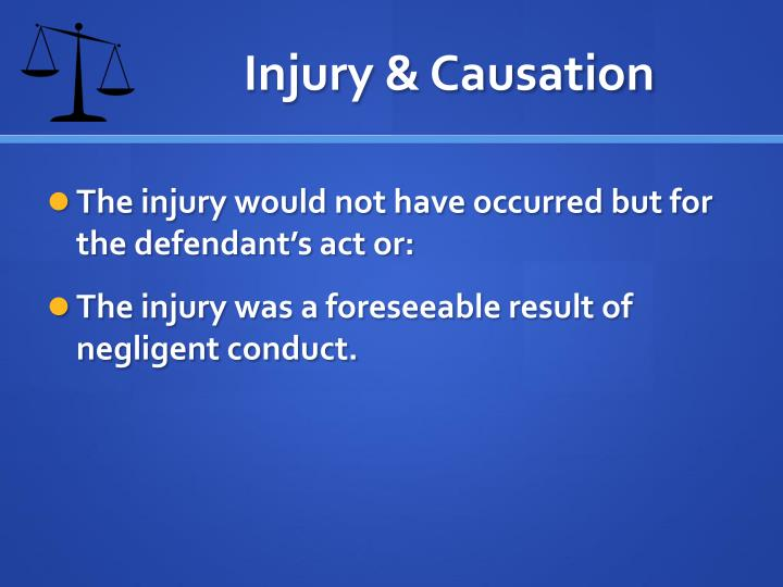 Injury & Causation