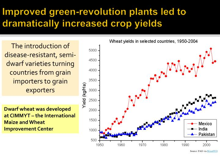 Improved green-revolution plants led to dramatically increased crop yields