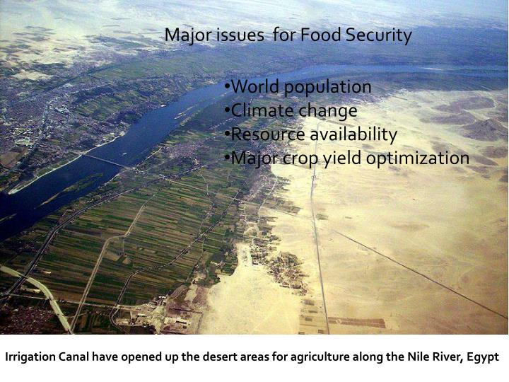 Major issues  for Food Security