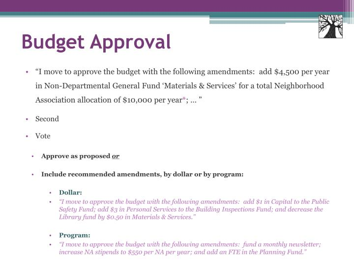 Budget Approval