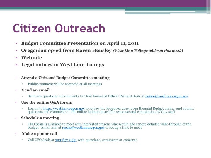 Citizen Outreach