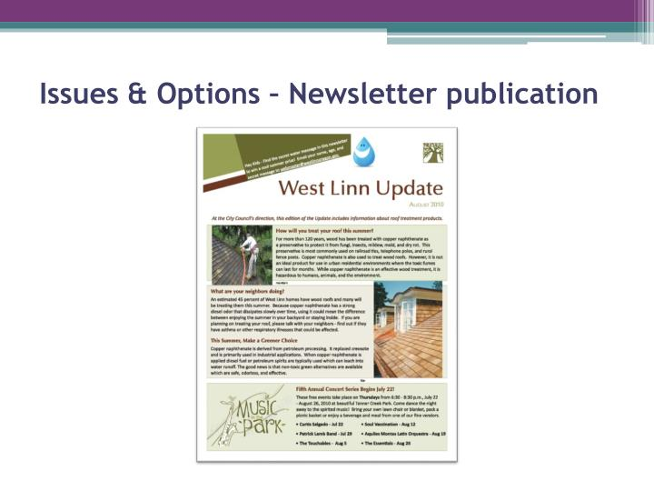 Issues & Options – Newsletter publication