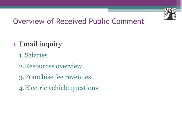 Overview of Received Public Comment