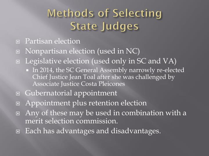 Methods of selecting state judges