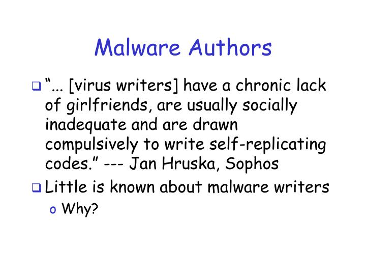Malware authors