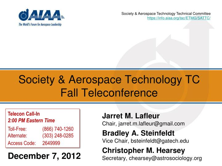 Society & Aerospace Technology Technical Committee