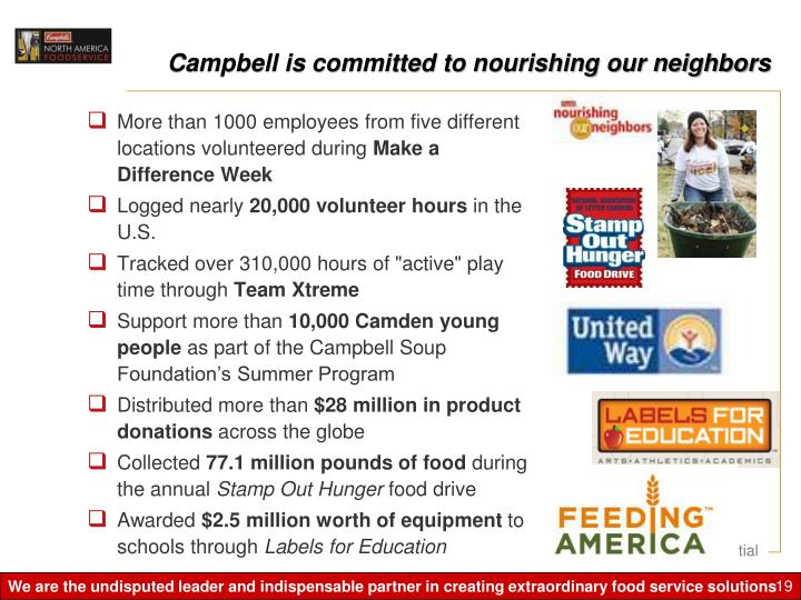 Campbell is committed to nourishing our neighbors