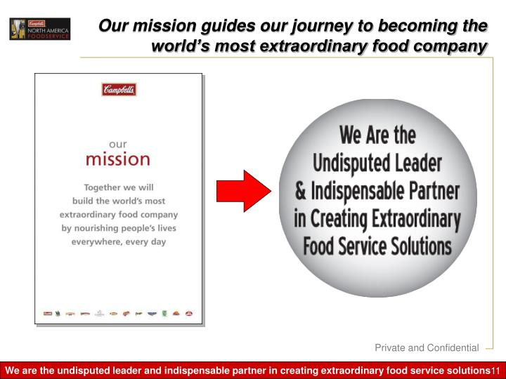 Our mission guides our journey to becoming the world's most extraordinary food company