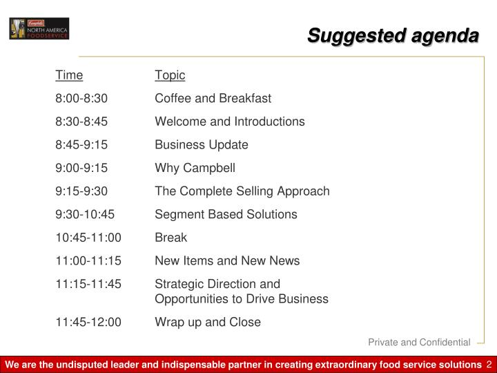 Suggested agenda