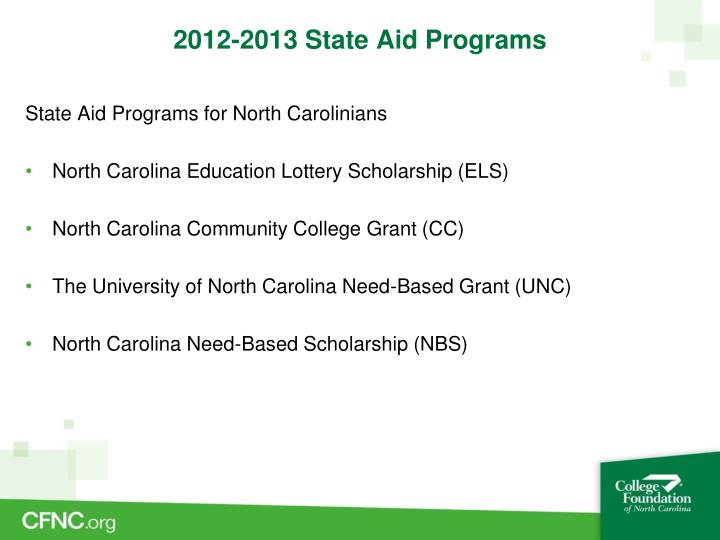 2012-2013 State Aid Programs