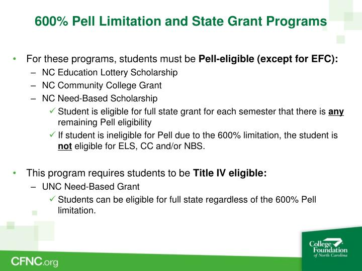 600% Pell Limitation and State Grant Programs