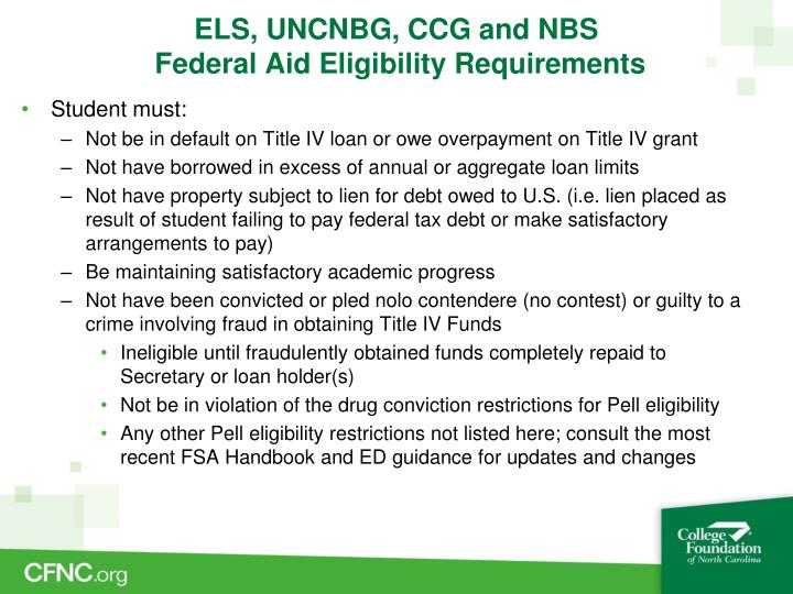 ELS, UNCNBG, CCG and NBS
