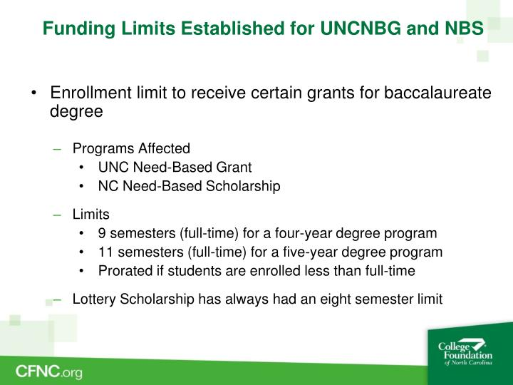 Funding Limits Established for UNCNBG and NBS