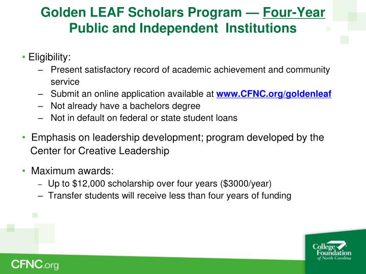 Golden LEAF Scholars Program —