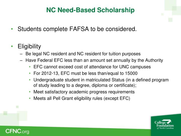 NC Need-Based Scholarship
