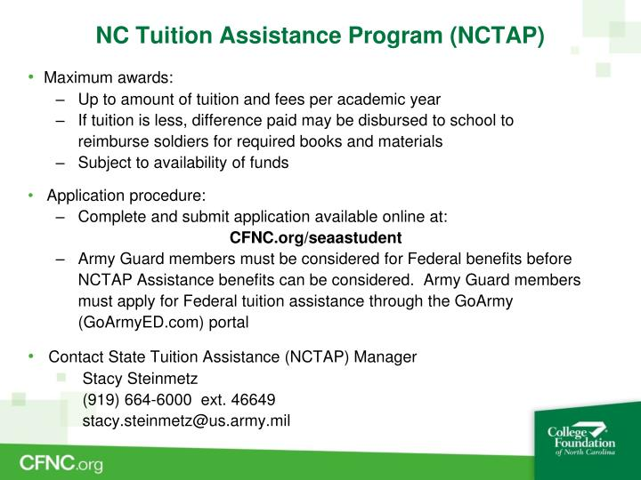 NC Tuition Assistance Program (NCTAP)